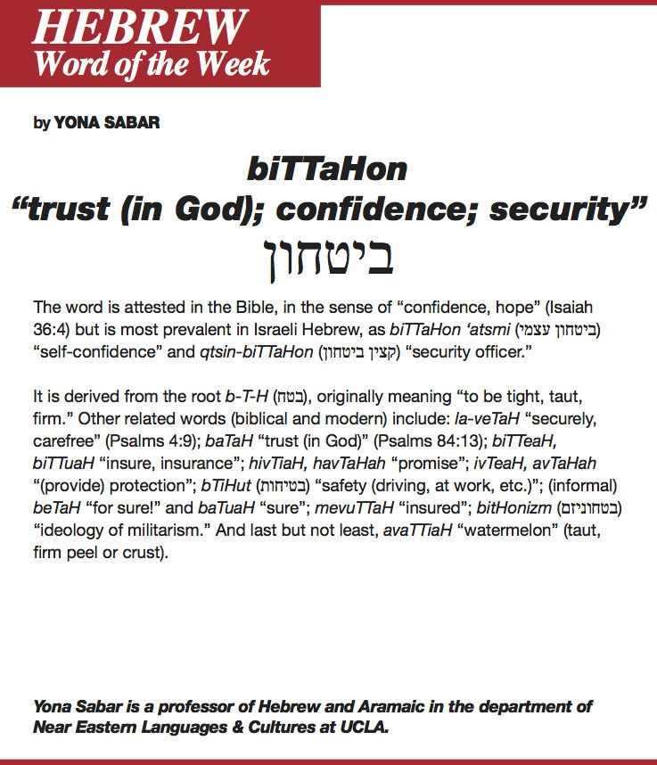 Hebrew Word Of The Week Bittahon Jewish Journal