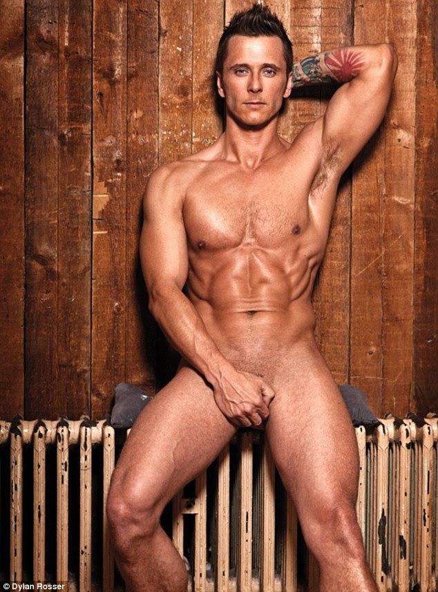 Too hot to handle: Ritchie Nevillie leans on a radiator naked in the new issue of Gay Times