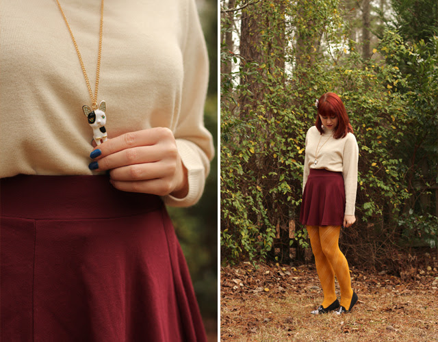 Maroon Skater Skirt, Yellow Tights, Oatmeal Sweater, Boston Terrier Necklace