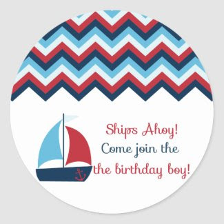 Nautical Birthday Boy Cupcake Topper/Sticker