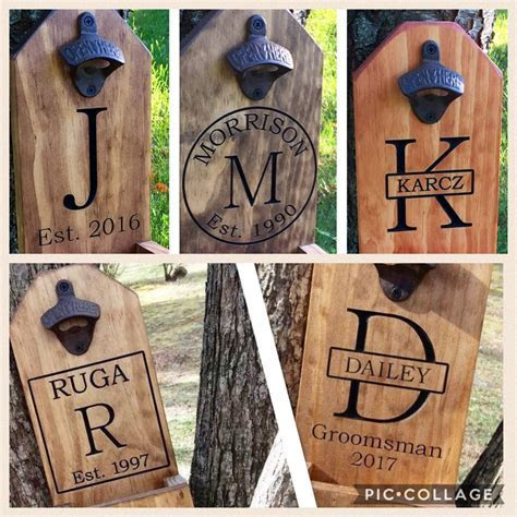 Personalized Beer Bottle Opener, Groomsmen Gift, Rustic