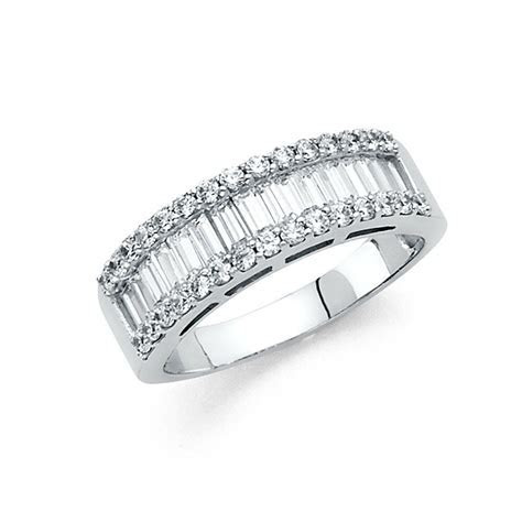 14k Solid White Gold Diamond Wedding Band Anniversary Ring