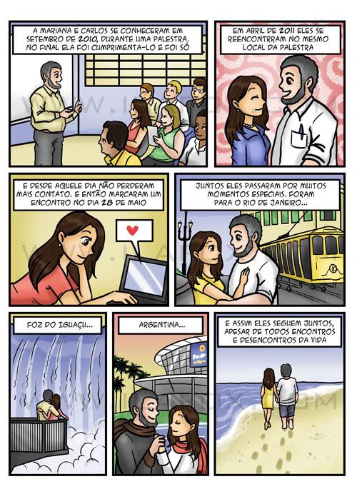 História em quadrinhos personalizada, historia do casal, convite em quadrinhos, by ila fox