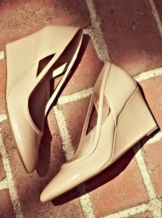 Nude wedges - elegant and comfy for work