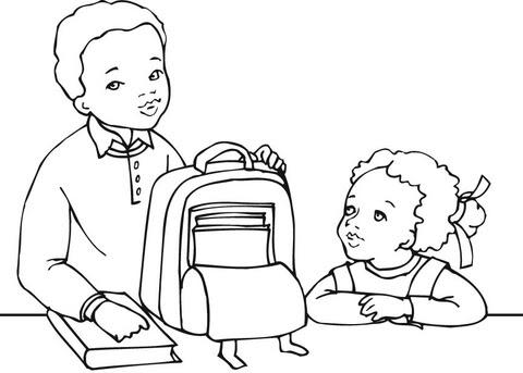 Dibujo De Niño Y Niña Americanos Listos Para El Colegio Para
