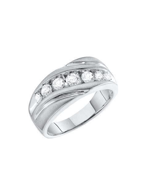 Size 12   10k White Gold Mens Round Channel set Diamond