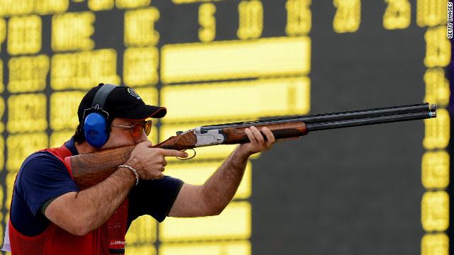 Juan Jose Aramburu of Spain takes aim during the men's skeet shooting qualification round Tuesday.