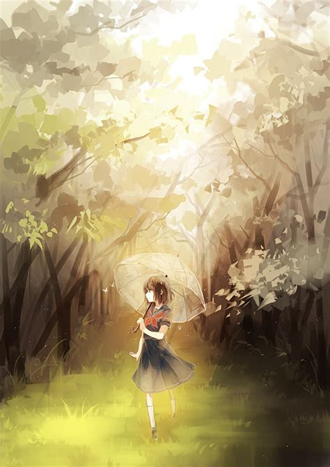 girl nature umbrella dress anime art