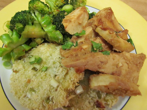 Apple-Miso Tofu; Scallion Potato Pancakes; Orange-Scented Broccoli