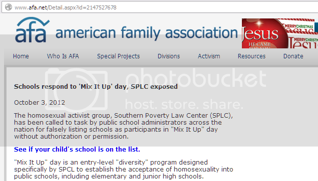 Screenshot of the AFA fuming about Mix It Up At Lunch Day and the SPLC ('the homosexual activist group')