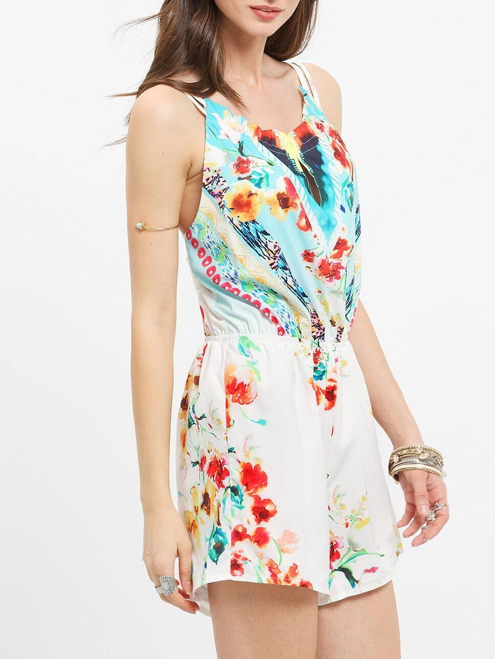 Spaghetti Strap Backless Floral Sleeveless Playsuits