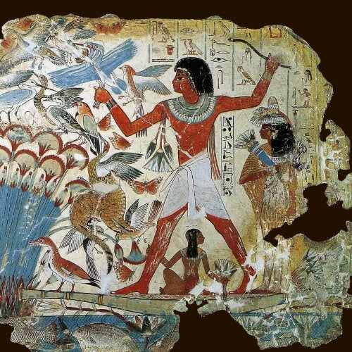 A wall painting from the tomb of an ancient Egyptian nobleman named Nebamun. The tomb was built circa. 1400 B.C. and is near Thebes.