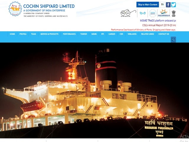 Cochin Shipyard Limited (CSL) Recruitment 2020: Apply Online for Manager and Other Posts