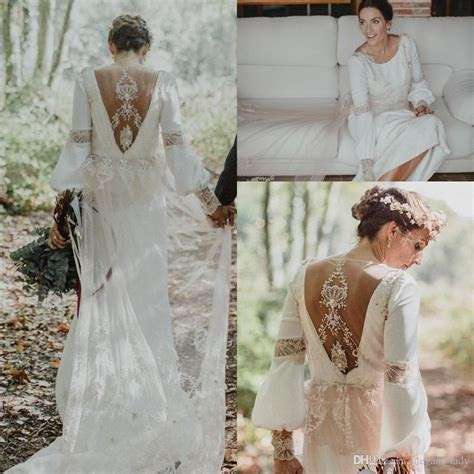 Discount Vintage Boho Loose Long Sleeve Wedding Dresses