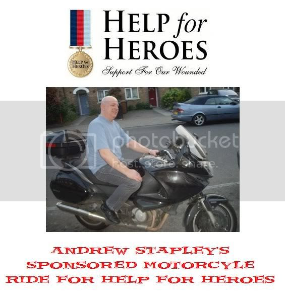Andrew Stapley's Sponsored Motorcycle Ride for Help for Heroes