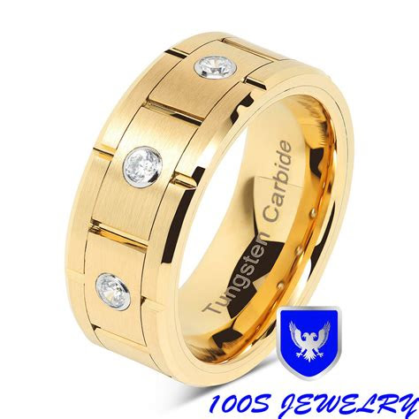 gold tungsten wedding band diamond inlay brushed center