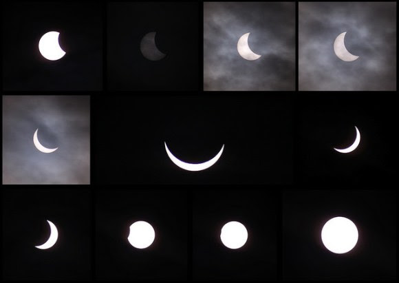 Partial phases of the solar eclipse today as seen from the United Kingdom. Credit and copyright: Sarah and Simon Fisher.