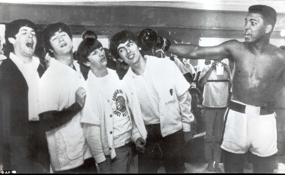 And 1964 was also the year that Ali met The Beatles (from left) Paul McCartney, John Lennon, Ringo Starr and George Harrison