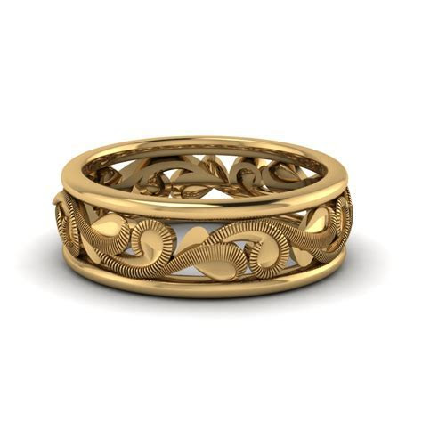 Filigree Eternity Wedding Band In 14K Yellow Gold