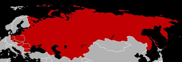 Mapa de los firmantes del Pacto de Varsovia.