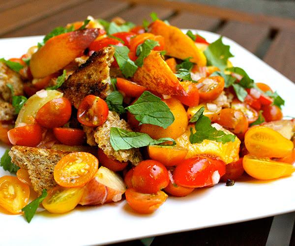 Grilled Peach Panzanella