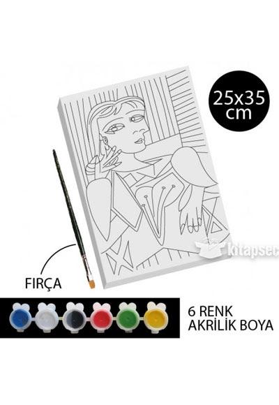 Desenli Tuval Boyama Kadın 1 Tb37 25x35 Kum Toys 868104905022910