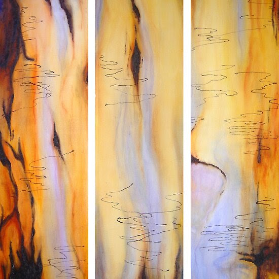 Oil Paintings: Scribbly Gum Tryptch by Marilyn Brown