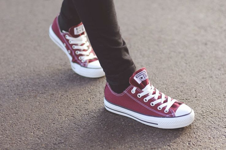 Burgundy Converse Trainers