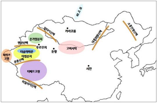 한민족 기원과 관련한 주요 지형.