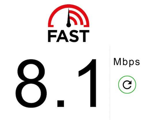 fast.com speed test result