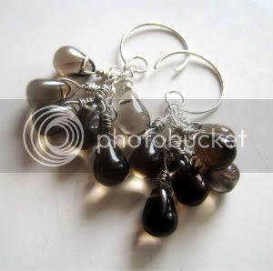 Smoky Quartz Teardrop Earrings by Little Bear's Mom