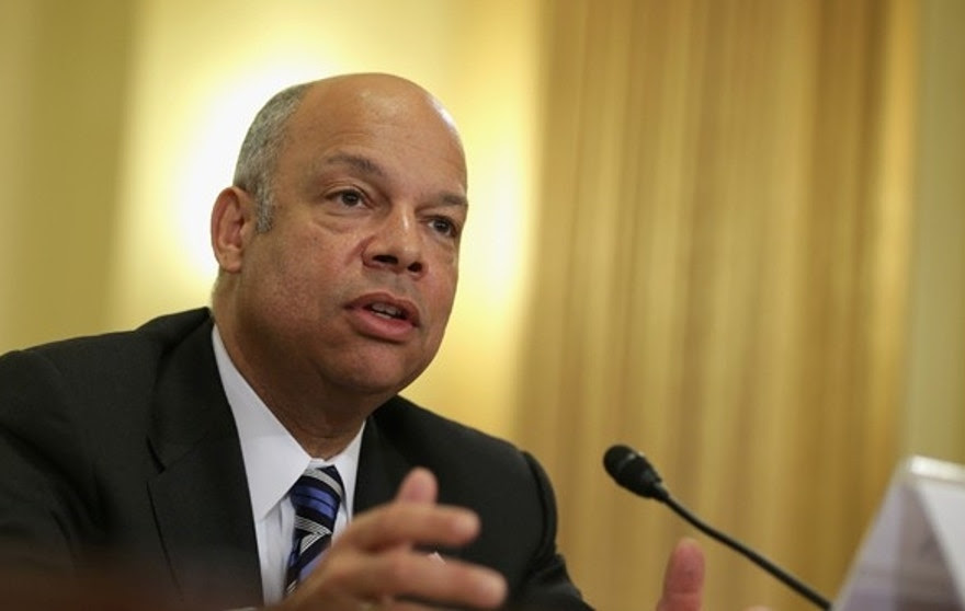 "WASHINGTON, DC - FEBRUARY 26:  U.S. Homeland Security Secretary Jeh Johnson testifies during a hearing before the House Homeland Security Committee February 26, 2014 on Capitol Hill in Washington, DC. The committee held a hearing on ""The Secretary's Vision for the Future - Challenges and Priorities.""  (Photo by Alex Wong/Getty Images)"