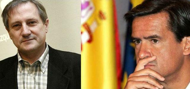 Los eurodiputados españoles Willy Meyer (IU)y Juan Fernando López Aguilar (PSOE), en fotos de archivo. EFE