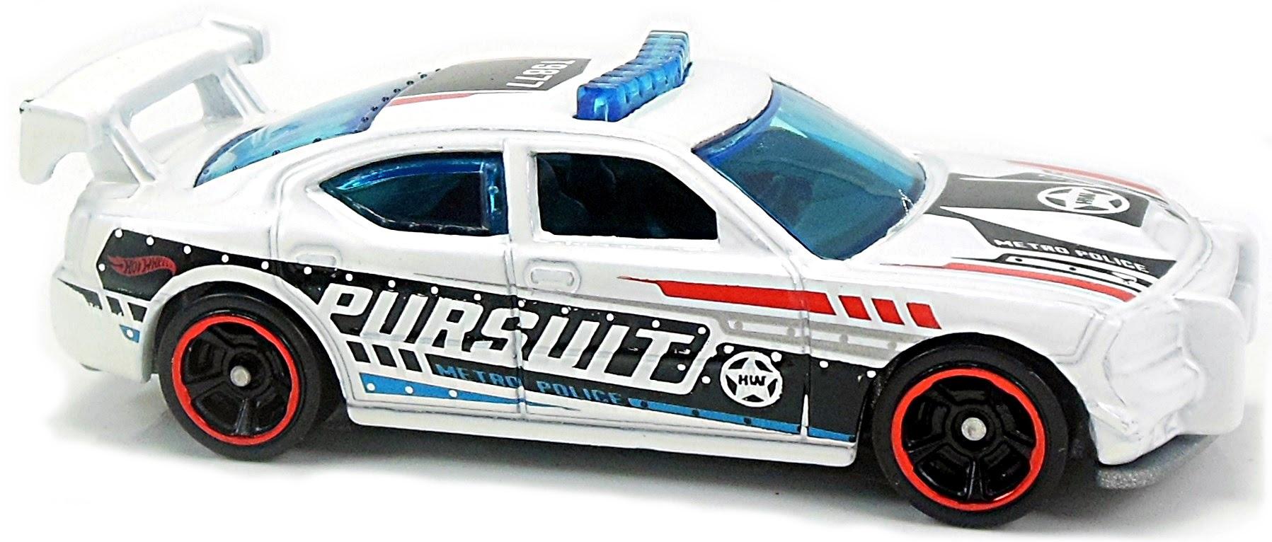 208//365 White Mattel Police Car Hot Wheels 2018 50th Anniversary HW Metro Series Dodge Charger Drift