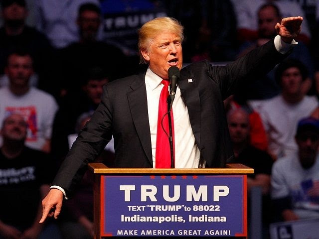 INDIANAPOLIS, IN - APRIL 27: Republican presidential candidate Donald Trump addresses the crowd during a campaign rally at the Indiana Farmers Coliseum on April 27, 2016 in Indianapolis, Indiana. Trump is preparing for the Indiana Primary on May 3.   (Photo by John Sommers II/Getty Images)
