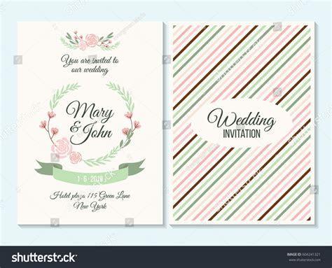 Pink Green Pastel Wedding Invitation Thank Stock Vector