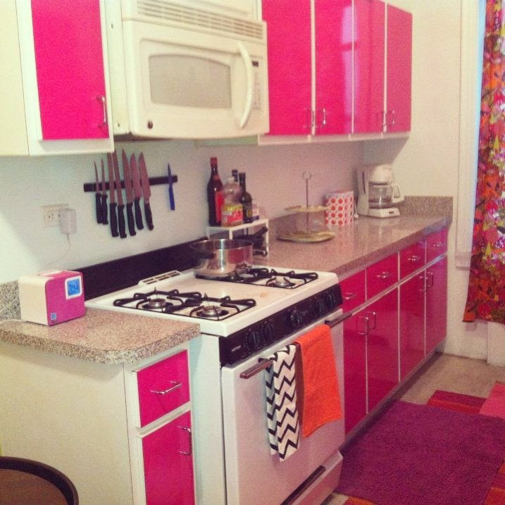 Kitchen with Bright Pink Cabinets - Room Decor and Design