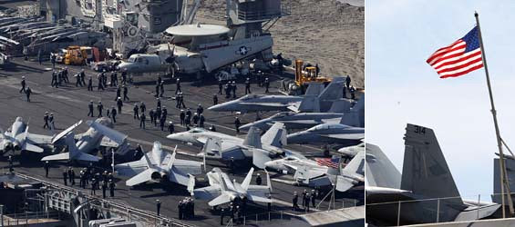 The nuclear-powered aircraft carrier USS Nimitz was seen in Busan, South Korea, on May 11, 2013, and it was scheduled to join the South Korea-U.S. joint naval drills.