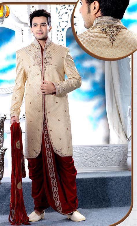 Golden red sherwani   Groom   Wedding sherwani, Indian
