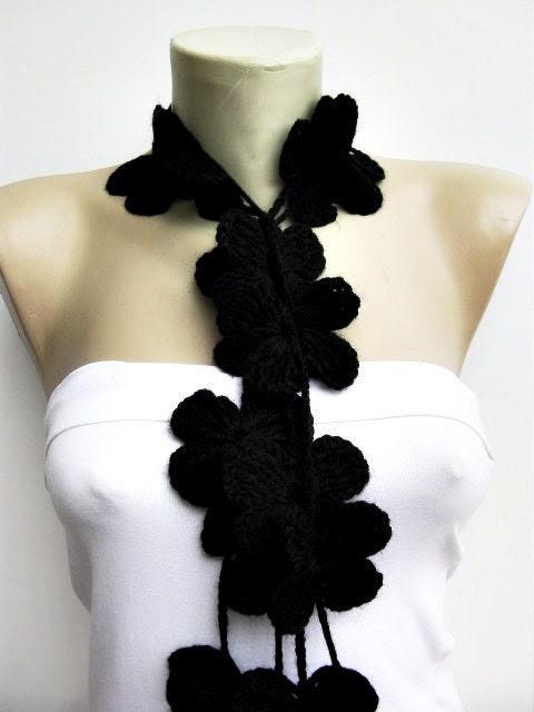Flower scarf /lariat /crochet /jewelery/scarf inblack