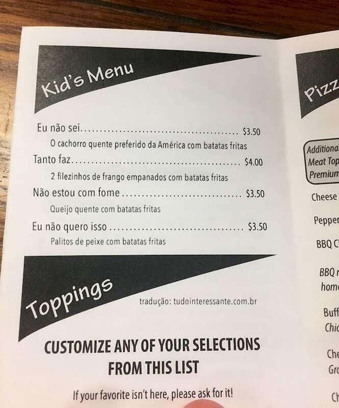 """Restaurante ao faz sucesso na internet ao criar cardápio para crianças """"chatas"""""""
