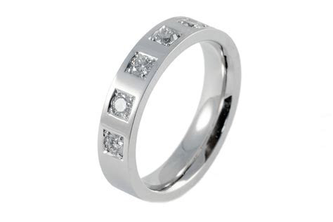 Engagement Rings   Mens White Gold Engagement Ring with 5