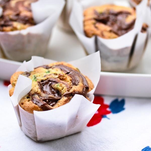 Zucchini Muffins Nutella Swirl