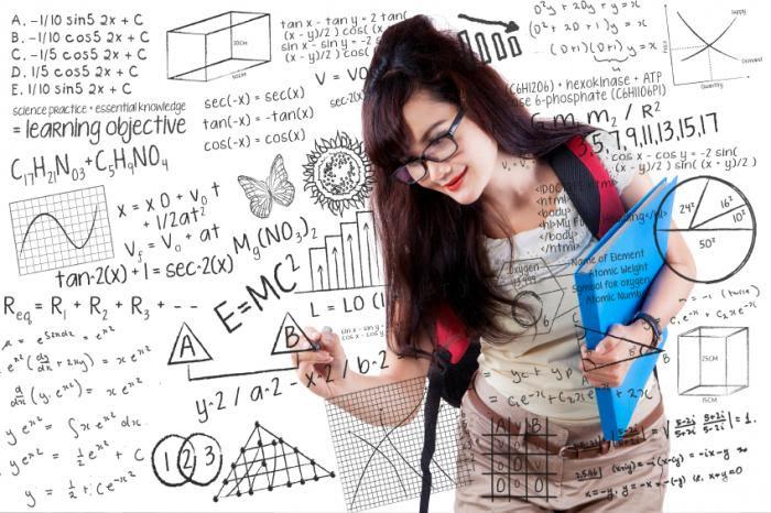 Nerdy girl doing math.