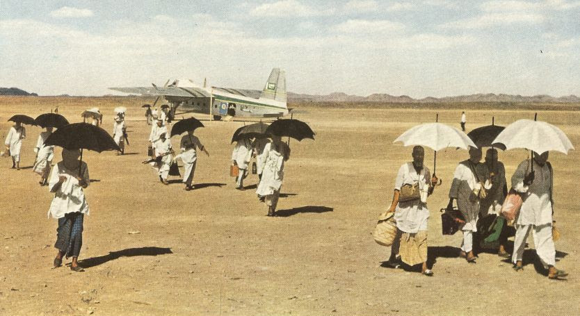 arriving by plane to hajj