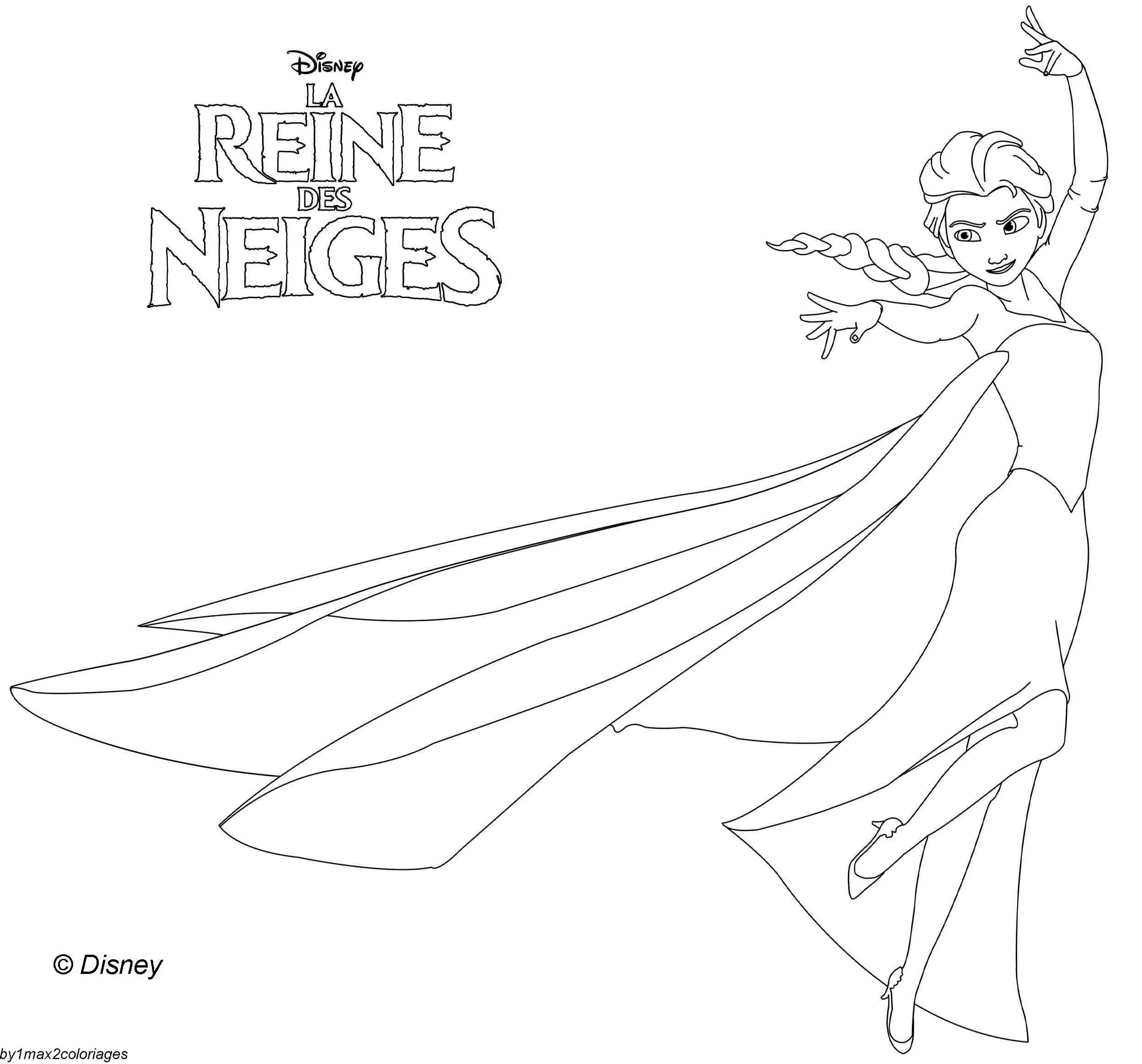 Coloriage Des Personnages Disney La Reine Des Neiges Elsa La Reine