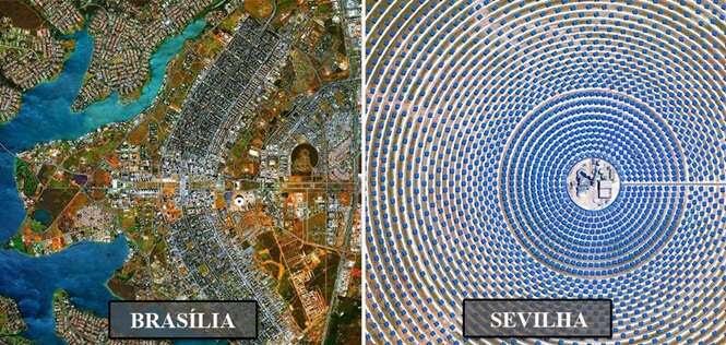 Imagens mostrando o mundo através de satélites
