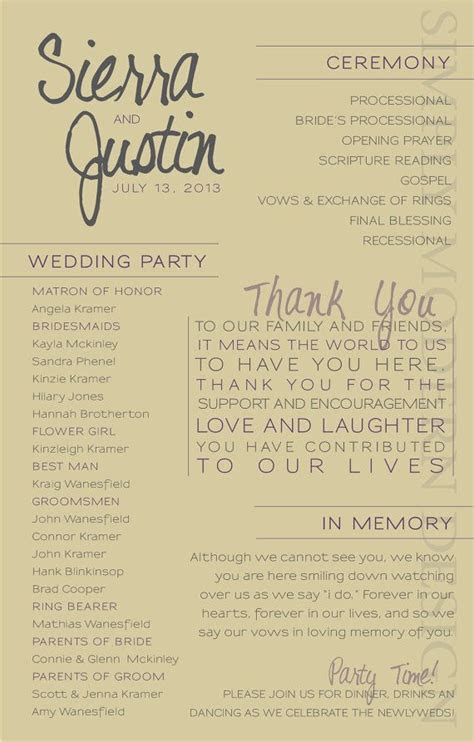 modern wedding ceremony program, wedding party, bridal
