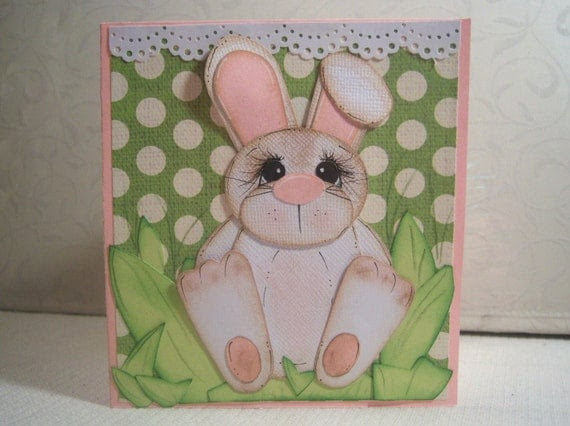 Bunny Paper Pieced Greeting Card Green Polka Dot Easter with Tags