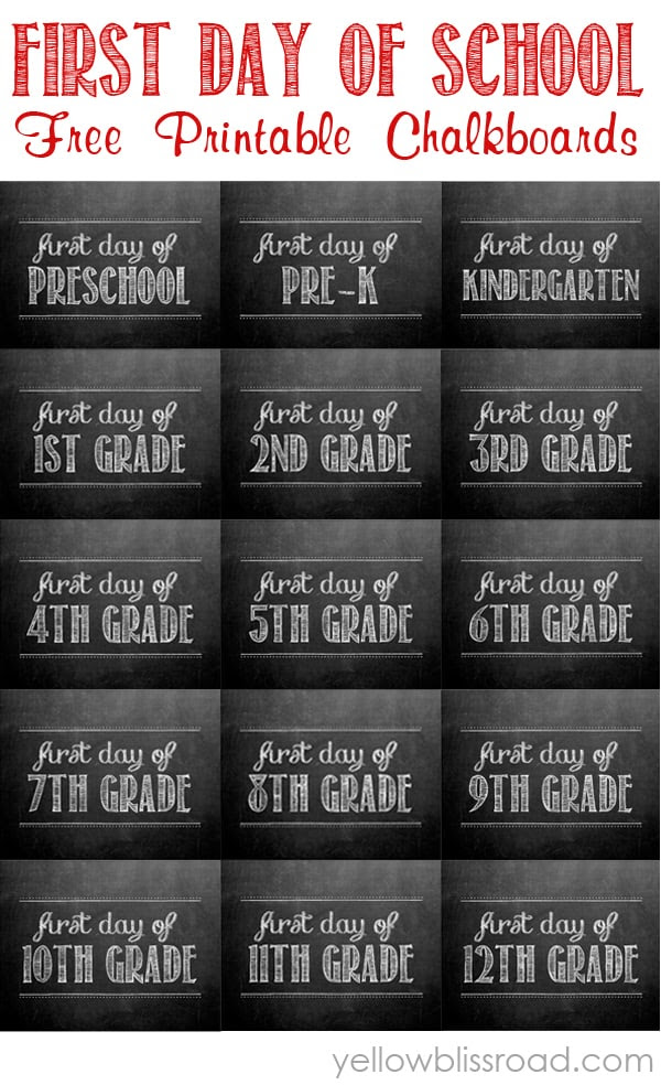 FREE First Day of School Printable Picture Signs